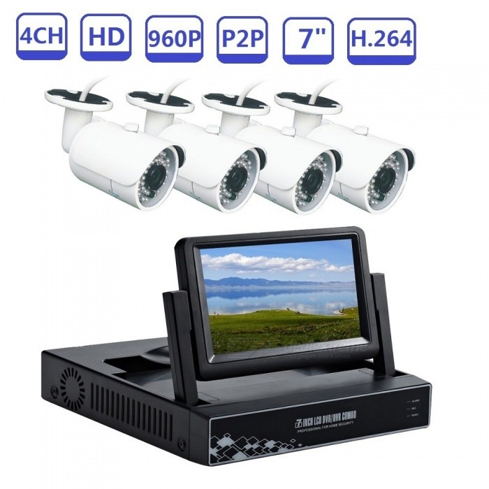 STRONGSHINE Security Camera Systems 4CH 7 Monitor NVR KIT 960P CCTV Cameras For Home Video Surveillance Day and Night - EU PlugNVR Cards &amp; Systems<br>ColorBlack+WhitePower AdapterEUModelST-NVR9400NMKITS-1.3MPMaterialMetal+PlasticQuantity1 setSystem ResourcesMulti-channel real-time recording synchronously,Multi-channel real-time playback,USB back upOperating SystemWindows 7,Android 3.0,Android 3.1,Android 3.2,Android 4.0,Linux,Windows 8,iOSRemote MonitoringNoPower AdaptorYesPower SupplyOthers,DC12VMobile Phone PlatformAndroid,iOSWorking Temperature-20~50 ?Working Humidity10%~90%Video StandardsH.264Decode FormatH.264Multi-mode Video InputWiredMotion DetectionYesAudio Compression FormatAACAudio Input4 channelsAudio  Output1 ChannelVideo Input4 channelsVideo Output4 channelsMonitor Quality4ch 1080/4ch 960P/4ch 720P  Real Time RecordingPlayback Quality1ch 720P or 960P realtime playback.Encode CapabilityH.264Decode CapabilityH.264Record ModeManual,Motion DetectionVideo SearchTime,Date,Channel SearchStorageNoVideo StorageLocal HDD,NetworkBack up ModeNetwork backup,USB portable,HDDUSBUSB 2.0HDD PortSATAPacking List1. 1* NVR built-in 7inch LCD screen2. 1* Power supply for NVR3. 1* Mouse for NVR 4.  4* 960P IP cameras6.  4* Power supply for camera7.  User manual of NVR8.  Screw and other parts<br>