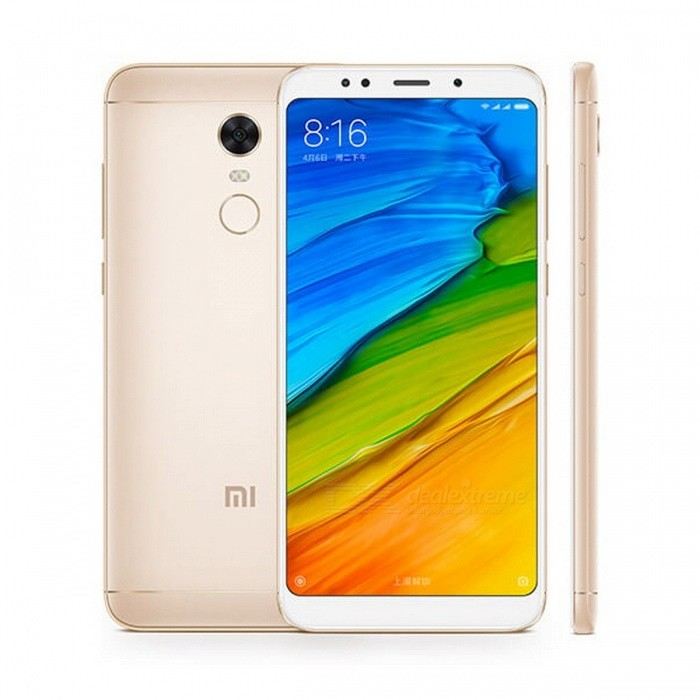 Xiaomi Redmi 5 Plus 5.99 Inches 18:9 Full Screen Phone Snapdragon 625 Octa-Core 4000mAh 4GB RAM 64GB ROM - GoldAndroid Phones<br>Form  ColorGoldenRAM4GBROM64GBBrandXiaomiModelXiaomi Redmi 5 Plus (4GB+64GB)Quantity1 pieceMaterialFront glass, aluminum bodyShade Of ColorGoldTypeBrand NewPower AdapterUS PlugNetwork Type2G,3G,4GBand Details2G: GSM 850/900/1800/1900MHz         CDMA 1X BC0  3G: WCDMA 850/900/1900/2100MHz         CDMA 2000 BC0         TDS-CDMA B34/B39  4G: FDD-LTE B1/B3/B5/B7/B8         TDD-LTE B34/B38/B39/B40/B41Data TransferGPRS,LTE,HSUPAWLAN Wi-Fi 802.11 a,b,g,n,Dual band Wi-Fi (2.4GHz / 5GHz),Others,WIFI Display, WiFi DirectSIM Card TypeNano SIMSIM Card Quantity2Network StandbyDual Network StandbyGPSYes,BDS,GLONASSInfrared PortYesBluetooth VersionBluetooth V4.2,Others,Bluetooth HIDOperating SystemOthers,Android 7.1.2 (Nougat)CPU ProcessorQualcomm MSM8953 Snapdragon 625 Octa-core 2.0 GHz Cortex-A53CPU Core QuantityOcta-CoreGPUAdreno 506LanguageThis phone supports multi-language.Available MemoryN/AMemory CardMicro-SDMax. Expansion Supportedup to 128GBSize Range5.5 inches &amp; OverTouch Screen TypeOthers,IPS LCD capacitive touchscreen, 16M colorsScreen ResolutionOthers,1080 x 2160 pixels, 18:9 ratio (~403 ppi density)MultitouchOthers,YesScreen Size ( inches)Others,5.99 inches, 92.6 cm2 (~77.4% screen-to-body ratio)Camera type2 x CamerasCamera PixelOthers,12 MP (f/2.2, 1.25 m), phase detection autofocus, dual-LED dual-tone flashFront Camera Pixels5.0 MPVideo Recording Resolution1080p video recording, 30fps<br>720p video recording, 30fpsFlashYesAuto FocusYesTouch FocusYesOther Camera FunctionsGeo-tagging, touch focus, face/smile detection, HDR, panoramaTalk TimeN/A hourStandby TimeN/A hourBattery Capacity4000 mAhBattery ModeNon-removableQuick Charge5V/2AfeaturesWi-Fi,GPS,BluetoothSensorG-sensor,Proximity,Compass,Accelerometer,Fingerprint authentication sensor,Others,gyroWaterproof LevelIPX0 (Not Protected)I/O InterfaceMicro USBReference Websites== Will this mobile phone work with a certain mobile carrier of yours? ==ColorGoldPacking List 1 x Xiaomi Redmi 5 Plus Smartphone 1 x USB Cable 1 x Eject Pin 1 x Protective Case 1 x US Charger<br>