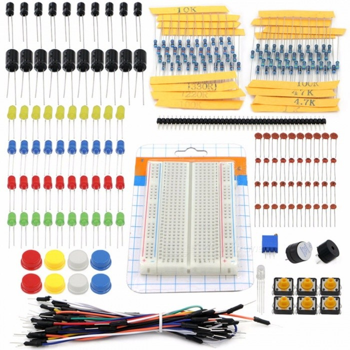 Starter Kit DIY Portable Kit Set Resistor LED Capacitor Jumper Wires Breadboard Resistor Kit with Retail Box for Arduino colorfu