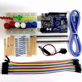 High Quality DIY UNO R3 Starter Kit Set Mini Breadboard LED Jumper Wire Button 9V Battery Connector Resistors for Arduino