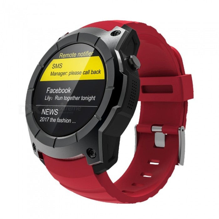 Eastor S958 Waterproof Smart Watch w/ GPS, Pedometer, Fitness Tracker, Heart Rate Monitor, Support SIM TF - RedSmart Bracelets<br>ColorRedModelS958Quantity1 DX.PCM.Model.AttributeModel.UnitMaterialAlloy + PC + ABSShade Of ColorRedWater-proofYesBluetooth VersionBluetooth V4.0Touch Screen TypeYesOperating SystemNoCompatible OSIOS 8.0+ / Android 4.3+Battery Capacity500 DX.PCM.Model.AttributeModel.UnitBattery TypeLi-polymer batteryStandby Time120 DX.PCM.Model.AttributeModel.UnitPacking List1 x Smart watch 1 x Charging base<br>