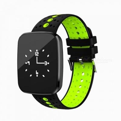 V6 Bluetooth Smart Watch Bracelet Fitness Tracker with Heart Rate / Blood Oxygen / Blood Pressure Monitoring - Black + Green