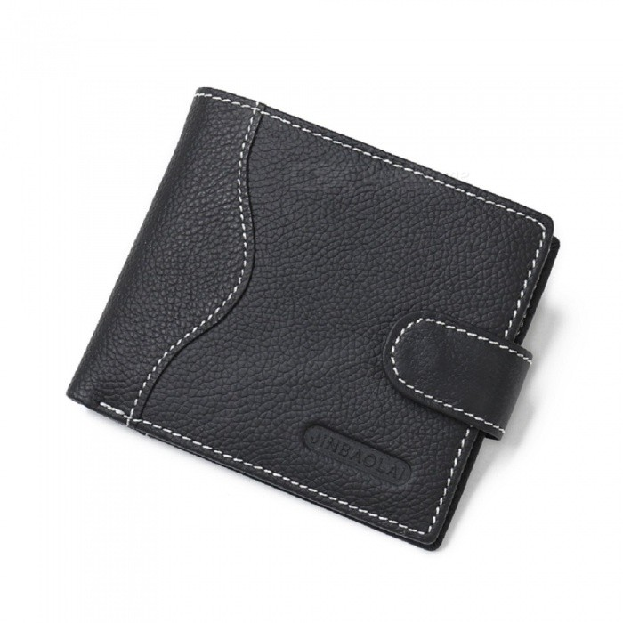JIN BAO LAI Mens Stylish Folding Leather Card Holder Wallet - BlackWallets and Purses<br>ColorBlackModel301-1#Quantity1 DX.PCM.Model.AttributeModel.UnitShade Of ColorBlackMaterialLeatherGenderMenSuitable forAdultsStyleFashionWallet Dimensions11.5*9.5*1.5cmPacking List1 x Wallet<br>