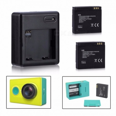 High Quality Xiaomi Yi 1010mAh Battery 2PCS + XiaoYi Dual Charger for Xiaomi Yi Action Camera Xiaomi Yi Accessories colorful