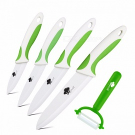 "Ceramic Knife Cooking Set 3"" 4"" 5"" 6"" Inches + Peeler, White Blade Paring Fruit Vege Chef Knife Kitchen Tools GREEN WHITE SET"