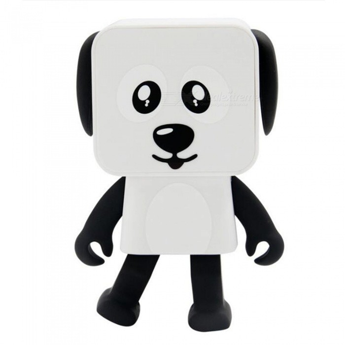 Smart Intelligence Dancing Square Dog Mini Bluetooth Sound Box Speaker - Black + WhiteBluetooth Speakers<br>ColorBlack + WhiteMaterialABSQuantity1 pieceShade Of ColorWhiteBluetooth HandsfreeYesBluetooth VersionOthers,V4.1Operating Range10mTotal Power3 WChannels2.1InterfaceOthers,Micro usbMicrophoneNoSNR75dBApplicable ProductsOthers,Blue equipment generalBuilt-in Battery Capacity 650 mAhBattery TypeLi-ion batteryMusic Play Time5 hoursPower AdapterUSBPower Supply300mAhCertificationFCC CE RoHsPacking List1 x Sound Box1 x USB Charging Line1 x English Manual<br>
