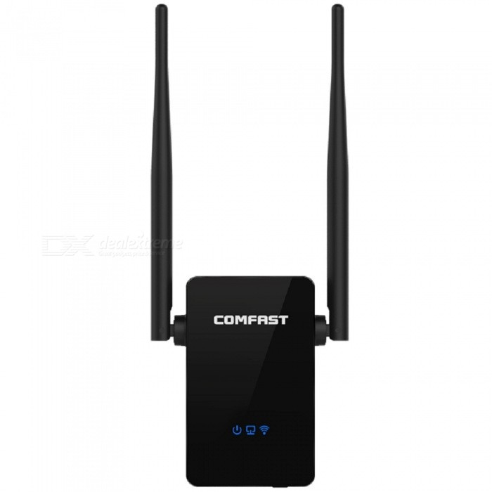 COMFAST 300Mbps Wi-Fi Signal Amplifier AP Booster WPS a Key SettingRouters<br>Form  Color300M EU PlugModelCF-WR302SQuantity1 pieceMaterialABSShade Of ColorBlackTypeRouter,Others,Wi-Fi repeaterChipsetRTL8196EU+RTL8192ERTransmission Rate300 MbpsNetwork ProtocolsIEEE 802.11n,IEEE 802.11b,IEEE 802.11gSlotOthersFrequency RangeOthers,2.4 GHzNetwork typeWCDMASecurity64,128-bit WEP,WPA,WPA2-PSK,WPA2-RADIUSWireless Data Rates300MWAN1LAN1UI LanguageEnglishSupport DD-WRTNoNetwork ProtocolTCP,IP,HTTPNetwork Management TypeManagedPowered ByAC ChargerSupports SystemWin xp,Win 2000,Win 2008,Win vista,Win7 32,Win7 64,Win8 32,Win8 64Working Temperature0-40 ?Working Humidity10%-90%CertificationFCC  CE  ISO9001Packing List1 x Wi-Fi AP/Repeater (EU Plug)1 x Cable 1 x English User manual<br>