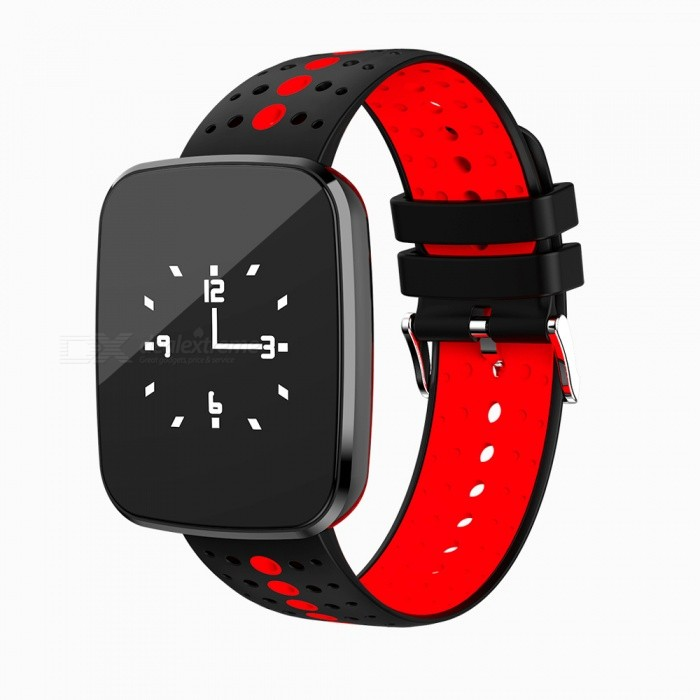 V6 Bluetooth Smart Watch Bracelet Fitness Tracker with Heart Rate / Blood Oxygen / Blood Pressure Monitoring - Black + RedSmart Bracelets<br>ColorBlack &amp; RedModelV6Quantity1 DX.PCM.Model.AttributeModel.UnitMaterialTPUShade Of ColorBlackWater-proofYesBluetooth VersionBluetooth V4.0Touch Screen TypeYesOperating SystemNoCompatible OSAndroid 4.3 abouve IOS 8.0Battery Capacity110 DX.PCM.Model.AttributeModel.UnitBattery TypeLi-polymer batteryStandby Time7 DX.PCM.Model.AttributeModel.UnitPacking List1 x Smart Bracket<br>