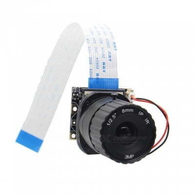 Geekworm 8mm Focal Length Night Vision 5.0MP NoIR Camera Board with IR-CUT for Raspberry Pi