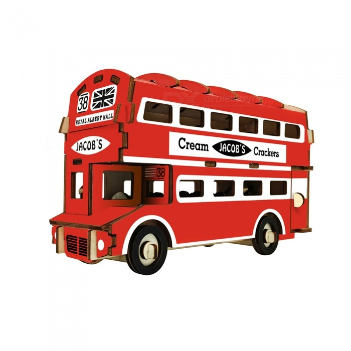 DIY British Double-Decker Bus 3D Wooden Puzzle Educational ToyBlocks &amp; Jigsaw Toys<br>ColorRedMaterialWoodQuantity1 DX.PCM.Model.AttributeModel.UnitNumber94Size19.2x6.7x10.9cmSuitable Age 5-7 years,8-11 years,12-15 yearsPacking List1 x DIY Toy<br>