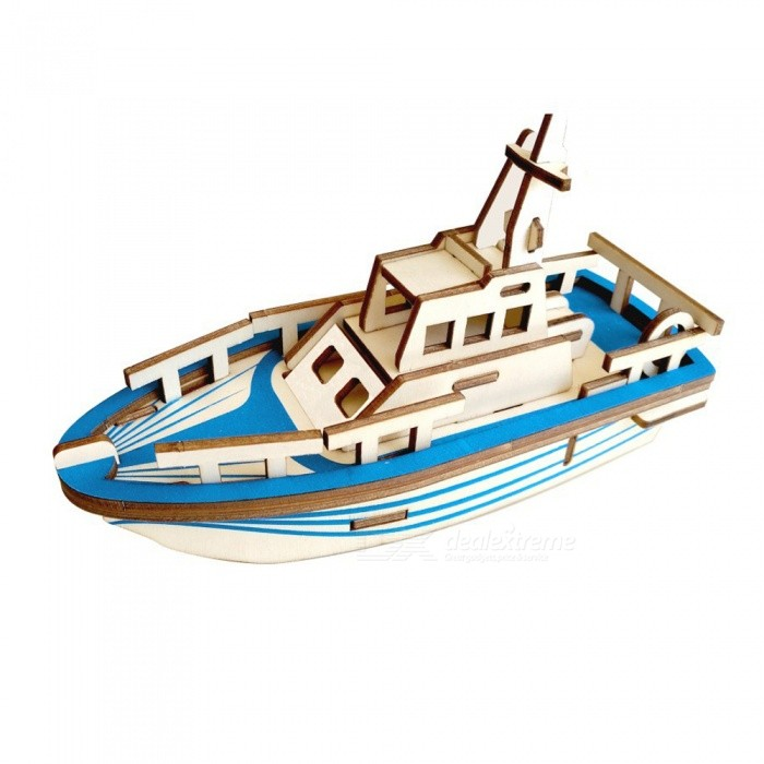 DIY 3D Wooden Lifeboat Style Puzzle Educational ToyBlocks &amp; Jigsaw Toys<br>ColorblueMaterialWoodyQuantity1 DX.PCM.Model.AttributeModel.UnitNumber33Size19.5x6.5x10.7cmSuitable Age 5-7 years,8-11 years,12-15 yearsPacking List1 x DIY Toy<br>