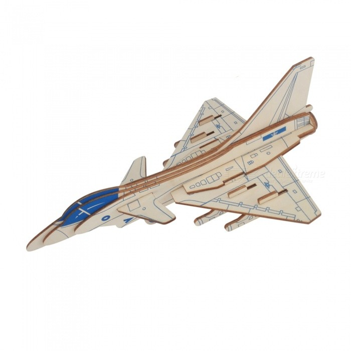 DIY J-10 3D Wooden Raptor Fighter Aircraft Style Puzzle Educational ToyBlocks &amp; Jigsaw Toys<br>ColorBlueMaterialWoodQuantity1 setNumber16Size29x19x10cmSuitable Age 5-7 years,8-11 years,12-15 yearsPacking List1 x DIY Toy<br>