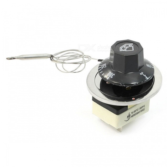 AC 250V 16A 50-300C Dial Rotary Knob Thermostat Temperature Control SwitchSwitches &amp; Adapters<br>ColorBlackQuantity1 DX.PCM.Model.AttributeModel.UnitMaterialPlastic, ceramic, metalPower RangeAC 250VMax. Current16AWorking Temperature50-300 DX.PCM.Model.AttributeModel.UnitCertificationNOPacking List1 x Temperature control switch<br>