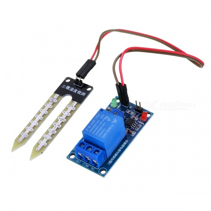Soil Moisture Detection Control Module w/ Soil Humidity Sensor - BlueSensors<br>ColorblueModelN/AQuantity1 DX.PCM.Model.AttributeModel.UnitMaterialPCB + electronic componentsApplicationThrough the potentiometer to adjust soil moisture control valve value, can be automatically for a vegetable garden, automatic watering the garden, the family pot soil moisture control, all kinds of electronic games and so on, with high power relay, can control large current device, is less than setting humidity automatic starter relay suck, greater than setting humidity automatically disconnect, and time delay function, solve the humidity critical state without delay relay kept flashing problem, is a simple practical soil moisture control systemWorking Voltage   12 DX.PCM.Model.AttributeModel.UnitDownload Link   N/APacking List1 x Soil moisture control module1 x Soil humidity sensor2 x Dupont lines<br>