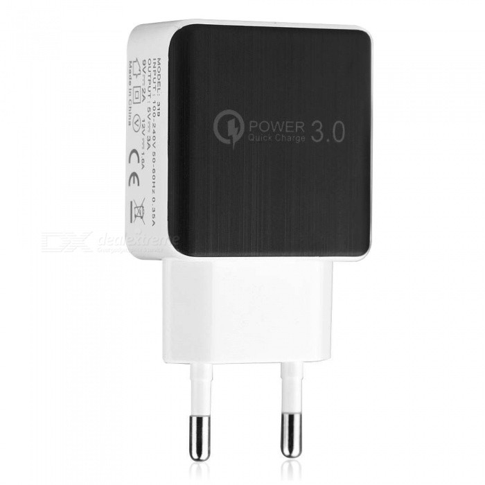 QC 3.0 5V 3A Quick Charge EU Plug USB AC Charger USB Wall Charger - Black + WhiteAC Chargers<br>Form  ColorBlackPower AdapterEU PlugModelN/AMaterialABSQuantity1 DX.PCM.Model.AttributeModel.UnitCompatible ModelsUniversalInput Voltage100-240V DX.PCM.Model.AttributeModel.UnitOutput Current5V/3A,9V/2A,12V/1.6A DX.PCM.Model.AttributeModel.UnitOutput Voltage5 DX.PCM.Model.AttributeModel.UnitSplit adapter number1Quick ChargeQC 3.0Form  ColorWhitePower AdapterEU PlugPacking List1 x Charger<br>