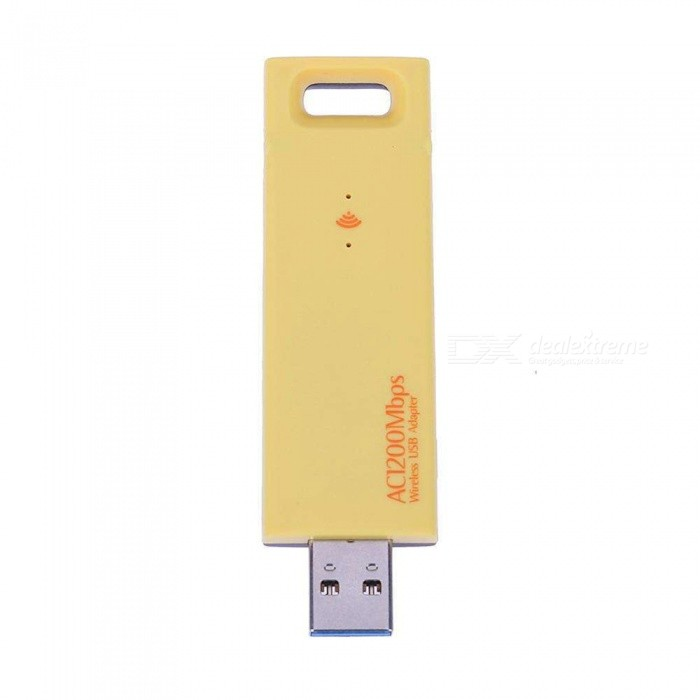 Maikou USB 3.0 Wireless Adapter 1200M 802.11n/b/g/ac Dual Band 2.4G 5G Wireless Network Adapter - YellowNetwork Cards<br>ColorYellowQuantity1 DX.PCM.Model.AttributeModel.UnitMaterialABSShade Of ColorYellowFrequency Range2.412-2.484GHz, 5.180-5.825GHzInterfaceUSB 3.0Transmission RateOthers,1200 DX.PCM.Model.AttributeModel.UnitChipset8812AntennaExternalSupports SystemWin xp,Win 2000,Win vista,Win7 32,MAC OS XPacking List1 x USB Wireless Network Adapter1 x Driver CD<br>