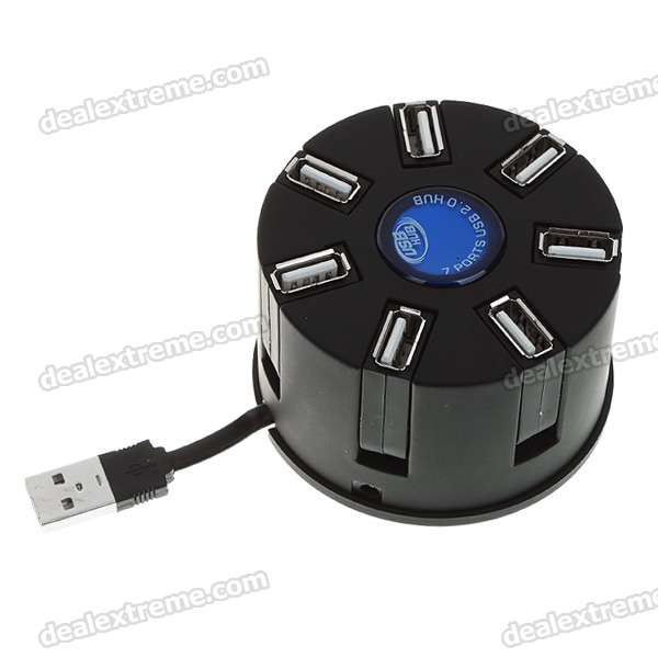 High Speed 7-Port USB 2.0 Hub - Black