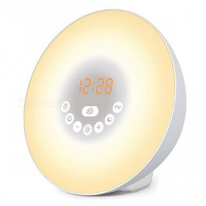 P-TOP 7-Color LED Wake Up Light Digital Alarm Clock, Sunrise Simulation Nature Sounds FM Radio Touch Display Night LampLED Nightlights<br>ColorWhiteMaterialPC+ABSQuantity1 setPower2WRated VoltageAC 100-240 VColor BINRGBEmitter TypeLEDActual Lumens99 lumensDimmableYesInstallation TypeOthers,-Packing List1 x Wake Up Light Sunrise Alarm Clock<br>