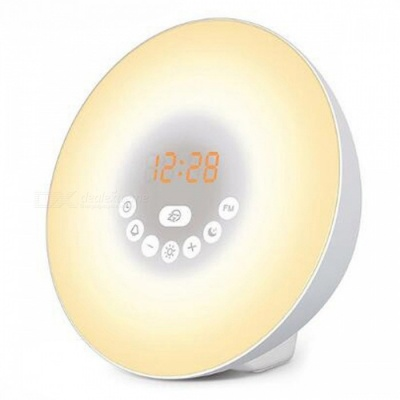 P-TOP 7-Color LED Wake Up Light Digital Alarm Clock, Sunrise Simulation Nature Sounds FM Radio Touch Display Night Lamp