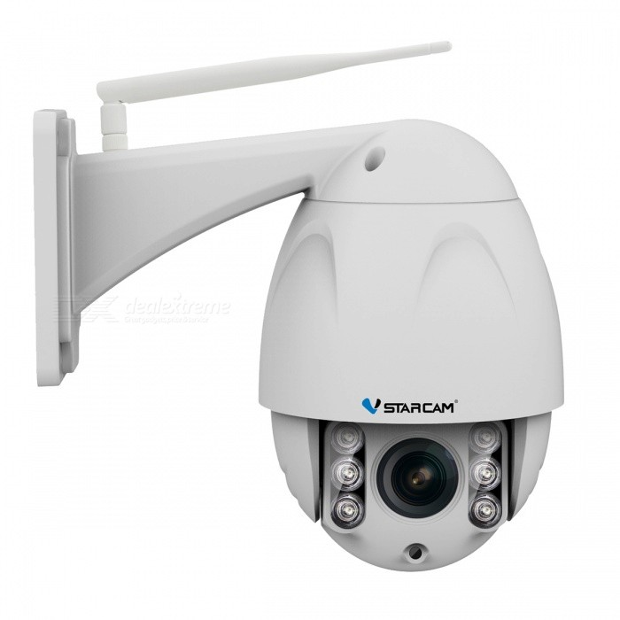 VSTARCAM 2.0MP Full HD 1080P IP66 Waterproof Security Wireless IP Camera w/ 4X Zoom, IR Night Vision, Motion Detection (US Plug)IP Cameras<br>Power AdapterUS PlugModelN/AMaterialAlloyQuantity1 DX.PCM.Model.AttributeModel.UnitImage SensorCMOSLensOthers,3.3-12mmPixels2.0MPViewing AngleOthers,40-118.5 DX.PCM.Model.AttributeModel.UnitVideo Compressed FormatH.264Picture Resolution1920 x 1080pFrame Rate15FPSMinimum Illumination0.1 DX.PCM.Model.AttributeModel.UnitNight VisionYesIR-LED Quantity6Night Vision Distance30 DX.PCM.Model.AttributeModel.UnitWireless / WiFi802.11 b / g / nNetwork ProtocolTCP,IP,UDP,HTTP,SMTP,FTP,DHCP,NTP,DDNS,uPnPSupported SystemsOthers,NOSupported BrowserOthers,NOSIM Card SlotNoOnline Visitor4IP ModeDynamicMobile Phone PlatformAndroid,iOSSmart AlarmMotion DetectionFree DDNSYesIR-CUTYesBuilt-in Memory / RAMNoLocal MemoryYesMemory CardTFMax. Memory Supported128GBMotorYesRotation AngleHorizontal:355 degree Vertical: 90 degreeZoom4XSupported LanguagesEnglish,Simplified ChineseWater-proofIP66Packing List1 x IP Camera 1 x US Plug power adapter (110~240V)1 x Pack of installation accessories1 x English user manual<br>