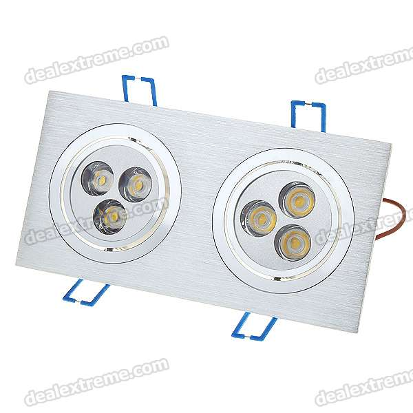 Dual Head 6W 3500K 500-Lumen 6-LED Ceiling Lamp/Down Warm White Light with LED Driver (100~240V)