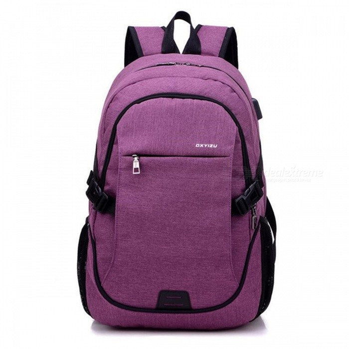 Ctsmart YZ531 Waterproof Anti-Theft Backpack with USB Charging Port for Outdoor Cycling Mountaineering Hiking - Purple