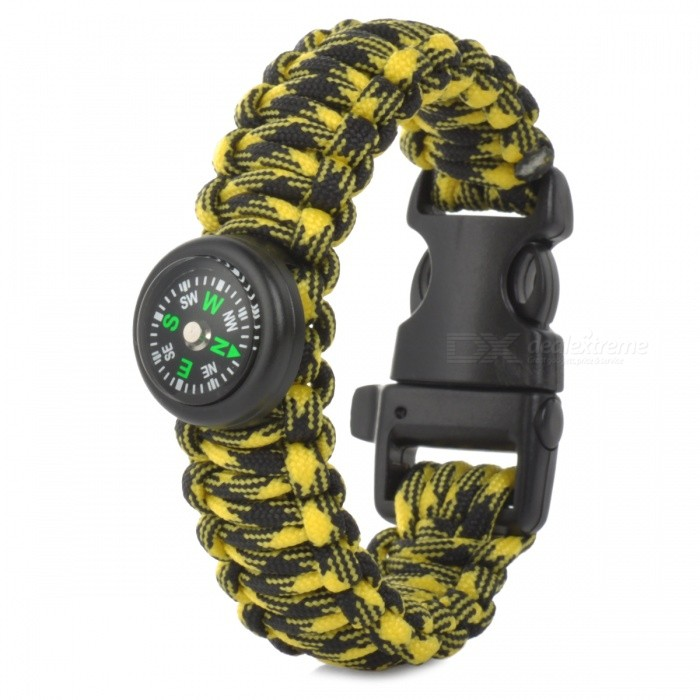 Self Defense Camping Hiking Rescue Tactical Bracelet - Black + YellowFirst Aid<br>ColorBlack + YellowModelNOQuantity1 setMaterialNylon weaveBest UseMountaineering,TravelTypeOthers,Emergency ropePacking List1 x Emergency Bracelet<br>