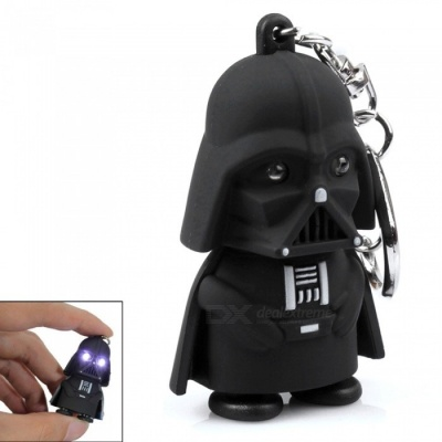 Creative Star Wars Black Warrior Cartoon LED Luminous Sound Key Chain Pendant - White Light