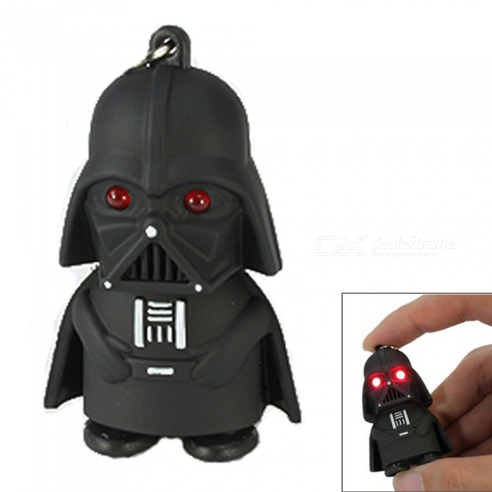 Creative Star Wars Black Warrior Cartoon LED Luminous Sound Key Chain Pendant - Red LightKeychains<br>ColorBlack (Red Light)MaterialPlasticQuantity1 DX.PCM.Model.AttributeModel.UnitPacking List1 x Key Pendant<br>