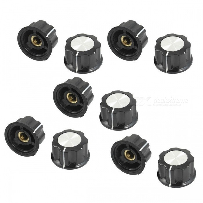 10Pcs 34mm Top Rotary Knobs for 6mm Dia. Shaft PotentiometerDIY Parts &amp; Components<br>ColorBlackModelA03Quantity10 piecesMaterialPlastic, metalEnglish Manual / SpecNoCertificationNOPacking List10 x Potentiometer Rotary Knobs<br>