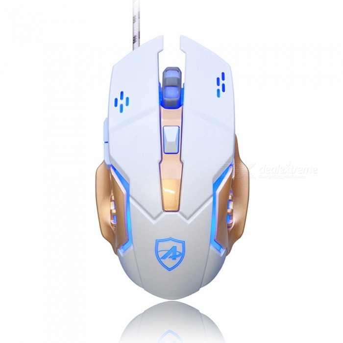 Ajazz AJ110 Professional Portable USB Wired Gaming Mouse with Backlit for Notebook Desktop ComputerGaming Mouse<br>Form  ColorWhite + Blue + Multi-ColoredModelAJ110Quantity1 DX.PCM.Model.AttributeModel.UnitMaterialPlastic cementShade Of ColorWhiteInterfaceUSB 3.0,USB 2.0Wireless or WiredWiredOptical TypeLEDBluetooth VersionNoPowered ByUSBBattery included or notNoSupports SystemWin xp,Win 2000,Win 2008,Win vista,Win7 32,Win7 64,Win8 32,Win8 64,MAC OS XCable Length160 DX.PCM.Model.AttributeModel.UnitTypeGamingPacking List1 x Mouse1 x Instruction<br>