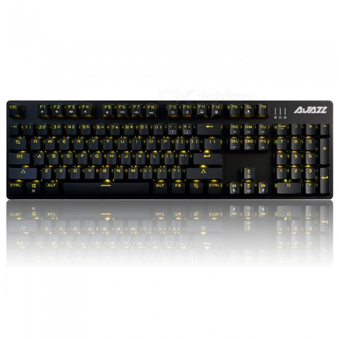 Ajazz AJ52 Alloy Gaming Mechanical Keyboard with Backlight - Red SwitchGaming Keyboards<br>Form  ColorBlackModelAJ52 red switchMaterialPlasticQuantity1 DX.PCM.Model.AttributeModel.UnitInterfaceUSB 3.0,USB 2.0Wireless or WiredWiredBluetooth VersionNoCompatible BrandAPPLE,Dell,HP,Toshiba,Acer,Lenovo,Samsung,MSI,Sony,IBM,Asus,Thinkpad,Huawei,GoogleAxis104Tracking MethodTouch PadBack-litYesPowered ByUSBBattery included or notNoCharging Time0 DX.PCM.Model.AttributeModel.UnitWaterproofNoTypeGaming,ErgonomicSupports SystemWin xp,Win 2000,Win 2008,Win vista,Win7 32,Win7 64,Win8 32,Win8 64,MAC OS XPacking List1 x Keyboard1 x Instruction<br>