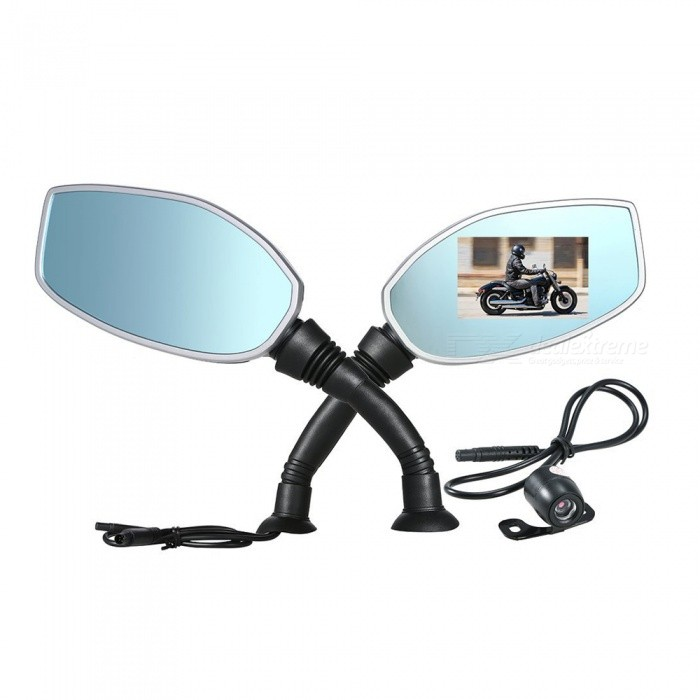 2.4 Inches Motorcycle Rearview Mirror Twin Camera Motorbike Dash Cam Video CamcorderMotorcycle Rearview Mirrors <br>Form  ColorBlack + Blue + Multi-ColoredQuantity1 DX.PCM.Model.AttributeModel.UnitMaterialABSShade Of ColorBlackCompatible TypeUniversalOther FeaturesFeatures: This product is an instrument that records videos and sounds during driving and provides crucial evidences for traffic accidents (Be advice that we do NOT recommend editing video files, such actions may cause corrupted evidences). You can also use it to record the process of conquering mountains or other obstacles. Its also capable of recording time, speed and location, just like a black box for motor vehicles.Packing List1 x Pairs of Mirrors1 x Camera1 x Set of Accessories<br>