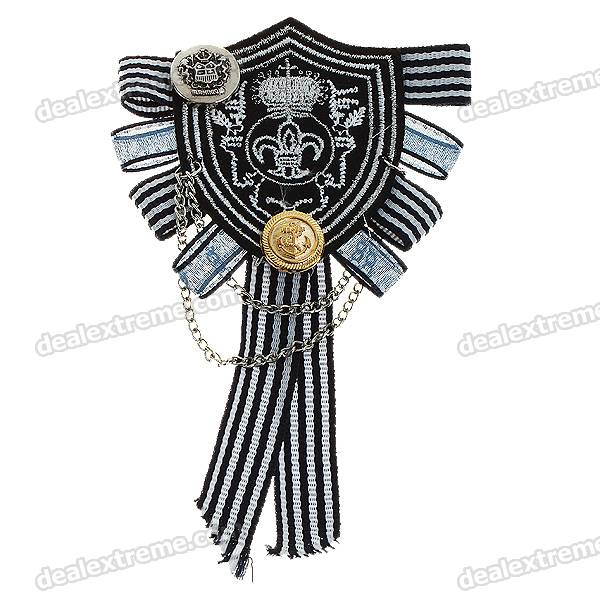 Vintage Badge Style Non-Woven Fabrics + Metal Brooch Pin - Black + White