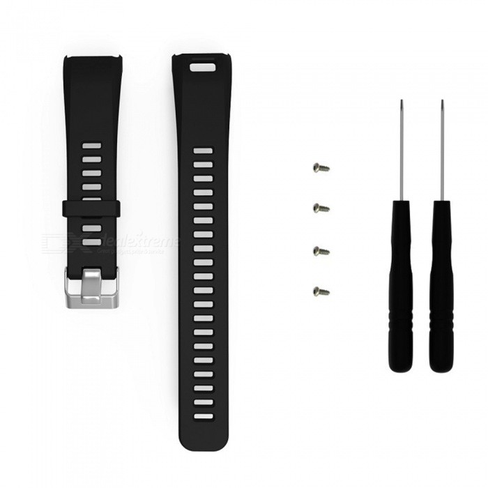 Replacement Smart Watch Watchband for Garmin Vivosmart HR - BlackWearable Device Accessories<br>ColorBlackModelN/AQuantity1 setMaterialSilica gelPacking List1 x Watchband (9.5cm)1 x Watchband(12.5cm)2 x Bolt driver4 x Screw<br>