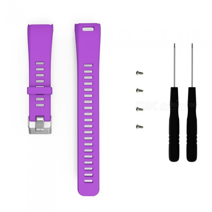 Replacement SmartWatch Watchband for Garmin Vivosmart HR - PurpleWearable Device Accessories<br>ColorPurpleModelN/AQuantity1 DX.PCM.Model.AttributeModel.UnitMaterialSilica gelPacking List1 x Watchband (9.5cm)1 x Watchband(12.5cm)2 x Bolt driver4 x Screw<br>