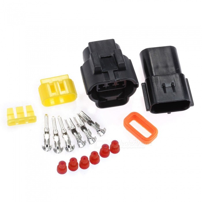 Qook 3-Pin Way Waterproof Electrical Wire Connector Plug, Male Female Bullet Connector Crimp Terminals (5 PCS)Other Gadgets<br>ColorBV183 BlackModelBV183-005Quantity5 DX.PCM.Model.AttributeModel.UnitMaterialPlastic + metal terminalShade Of ColorBlackPower20 DX.PCM.Model.AttributeModel.UnitCurrent20 DX.PCM.Model.AttributeModel.UnitCertificationN/AOther FeaturesN/APacking List5 x 3-pin waterproof cable connector plug car kit<br>