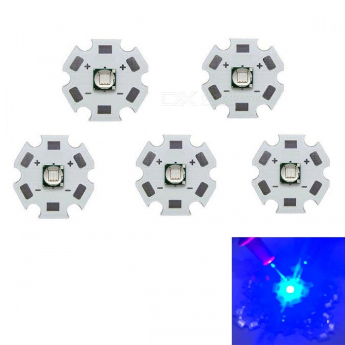 JRLED Super Bright 20mm PCB 10W Blue Light 5050SMD LED Bead, DC3-3.5V (5 PCS)Leds<br>Emitting ColorBlueSize20mmModelJR-5050-10WMaterialAluminium alloy+LEDQuantity5 DX.PCM.Model.AttributeModel.UnitPower10 DX.PCM.Model.AttributeModel.UnitRate VoltageDC3-3.5VWorking Current0-2500 DX.PCM.Model.AttributeModel.UnitDimmableYesEmitter Type5050 SMD LEDTotal Emitters1Beam Angle120 DX.PCM.Model.AttributeModel.UnitColor Temperature12000K,Others,N/ATheoretical Lumens400 DX.PCM.Model.AttributeModel.UnitActual Lumens300 DX.PCM.Model.AttributeModel.UnitWavelengthN/AConnector TypeOthers,Solder jointCertificationCE ROHSOther FeaturesThis product adopts Taiwan large single crystal chip, packaged into 5050 types of beads, beads size and XML size.Can be used to redress a lamp, a flashlight for night fishingPacking List5 x 10W LED Beads<br>