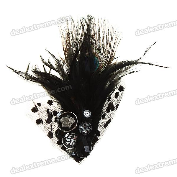 Charming Feathers + Crystal Brooch Pin Fashion Accessories