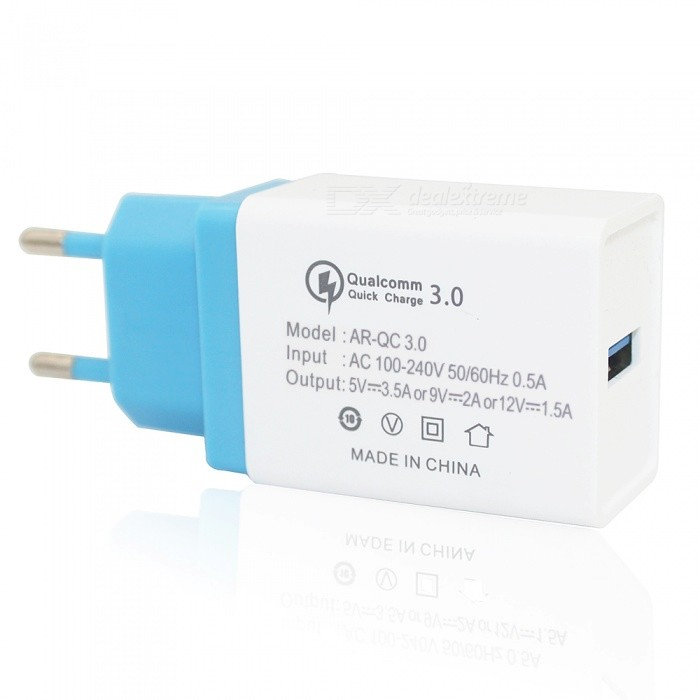 Mini Smile 18W Universal Travel QC3.0 Quick Charge USB Power Adapter Wall Charger - Blue + White (EU Plug)AC Chargers<br>ColorBlue + WhitePower AdapterEU Plug ModelAR300MaterialABSQuantity1 DX.PCM.Model.AttributeModel.UnitCompatible ModelsUniversalInput Voltage100-240 DX.PCM.Model.AttributeModel.UnitOutput Current3.5A / 2A / 1.5 DX.PCM.Model.AttributeModel.UnitOutput Voltage5V / 9V / 12 DX.PCM.Model.AttributeModel.UnitQuick ChargeYesPacking List1 x Charger<br>