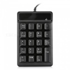 19-key mini wired numeric keypad keyboard for finance / accounting - black
