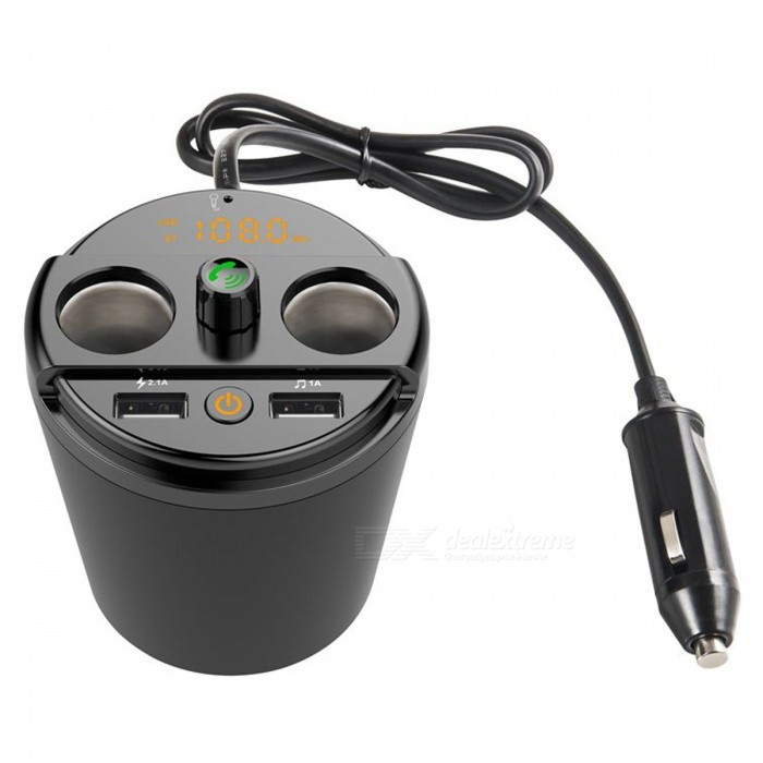 Multi-function Cup Shape Dual USB Car Charger - Black