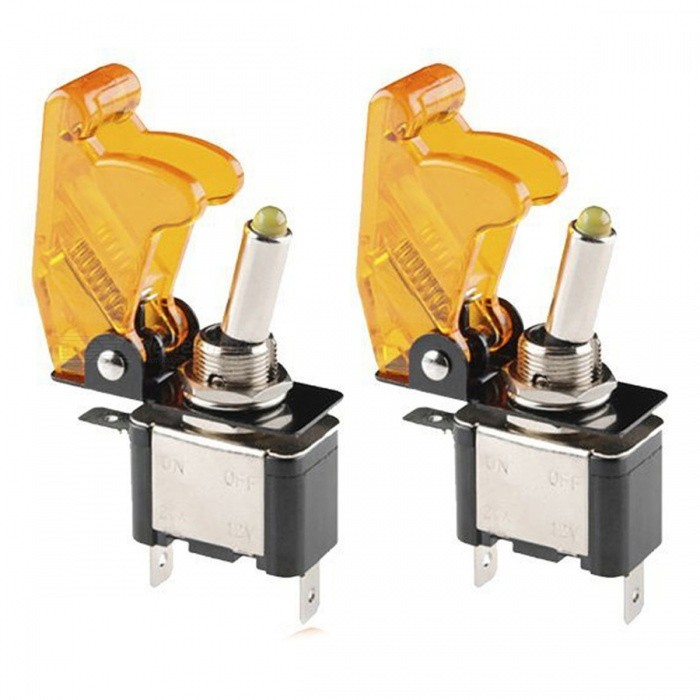 YENISEI DC 12V 20A Yellow LED SPST ON/OFF Racing Car Toggle Switch - Yellow (2PCS)Switches &amp; Adapters<br>ColorYellow + black + silverQuantity2 pieceMaterialPlastic,MetalPower RangeDC12VMax. Current20AWorking Temperature-10 to80 ?Other FeaturesYellow lightCertificationROHSPacking List2  x Car Toggle Switch<br>