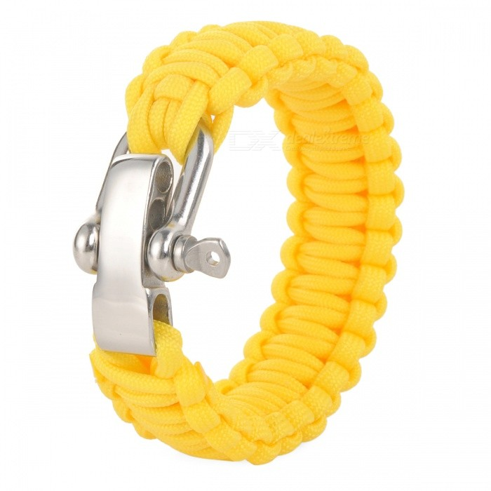 Survival Bracelet Rope w/ Steel Shackle Buckle for Outdoor Camping Hiking - YellowFirst Aid<br>ColorYellowQuantity1 DX.PCM.Model.AttributeModel.UnitMaterialNylonBest UseFamily &amp; car camping,Mountaineering,TravelTypeOthers,Safety ropePacking List1 x Safety rope<br>
