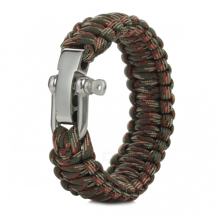 Survival Bracelet Rope w/ Steel Shackle Buckle for Outdoor Camping Hiking - Camouflage Green