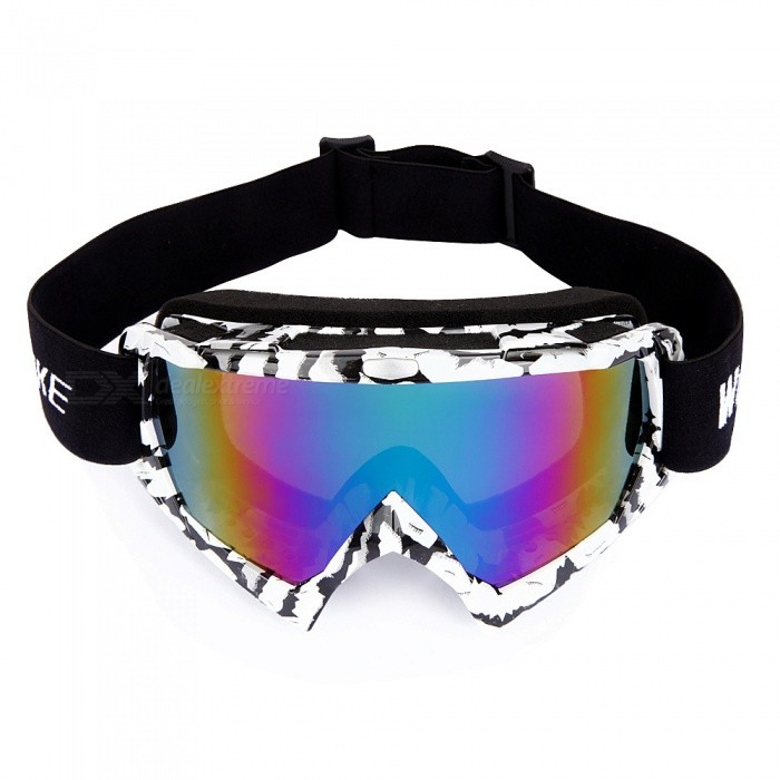 WOLFBIKE Winter Windproof Ski Glasses Goggles, UV 400 Protection Anti-fog Snow Glasses for Men - WhiteGoggles<br>ColorWhiteSizeFree SizeModelBYJ-017Quantity1 pieceGenderUnisexSuitable forAdultsLens ColorAs the picturesLens MaterialPCFrame ColorWhiteFrame MaterialTPUFrame Height10 cmOverall Width of Frame18 cmBridge Width5.5 cmBest UseOthers,Skiing /motorcyclesPacking List1 x Skiing glasses<br>