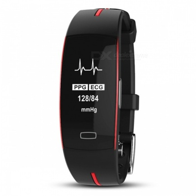 P-TOP P3 Sport Smart Bracelet Band w/ ECG Monitor, Blood Pressure, Real-time Heart Rate Monitior for IOS Android - Red