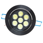 7W 7-LED White Light Ceiling Lamp/Down Light - Black (100-240V)