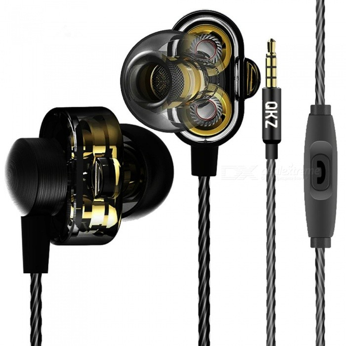 QKZ DM8 Mini Dual Driver Original Hybrid Dual Dynamic Driver In-Ear Earphone, MP3 DJ Headset - Brown + BlackHeadphones<br>ColorBrown + BlackBrandOthers,QKZModelDM8MaterialABS + TPEQuantity1 DX.PCM.Model.AttributeModel.UnitConnection3.5mm WiredBluetooth VersionNoConnects Two Phones SimultaneouslyNoCable Length120 DX.PCM.Model.AttributeModel.UnitLeft &amp; Right Cables TypeEqual LengthHeadphone StyleBilateral,Earbud,In-EarWaterproof LevelIPX2Applicable ProductsUniversal,IPHONE 7,IPHONE 7 PLUSHeadphone FeaturesHiFi,Noise-Canceling,Volume Control,With Microphone,Lightweight,Portable,For Sports &amp; ExerciseRadio TunerNoSupport Memory CardNoSupport Apt-XNoChannels2.0Impedance16 DX.PCM.Model.AttributeModel.UnitDriver Unit7MMBattery TypeOthers,NOPacking List1 x DM8 Earphone3 Set x Ear caps1 Set x Headphone hook1 x Ear box<br>