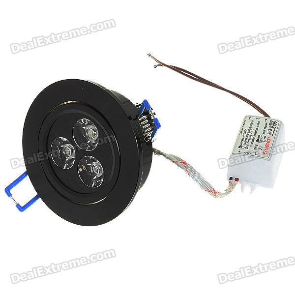 3W 3-LED White Light Ceiling Lamp/Down Light - Black (85-265V)